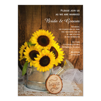 Rustic Sunflower and Garden Watering Can Wedding 13 Cm X 18 Cm Invitation Card
