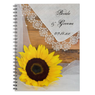 Rustic Sunflower and Lace Country Wedding Spiral Notebook