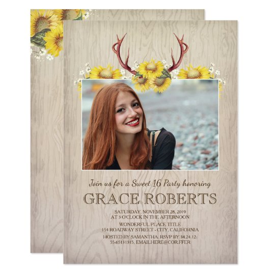 Rustic Sunflower Antlers | Sweet Sixteen Birthday Card