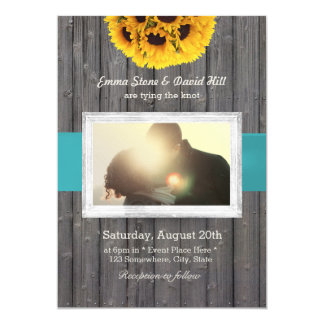 Rustic Sunflower Barn Wood Custom Photo Wedding Card