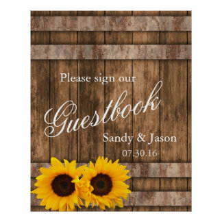 Rustic Sunflower Barn Wood Guestbook Sign | Zazzle Poster