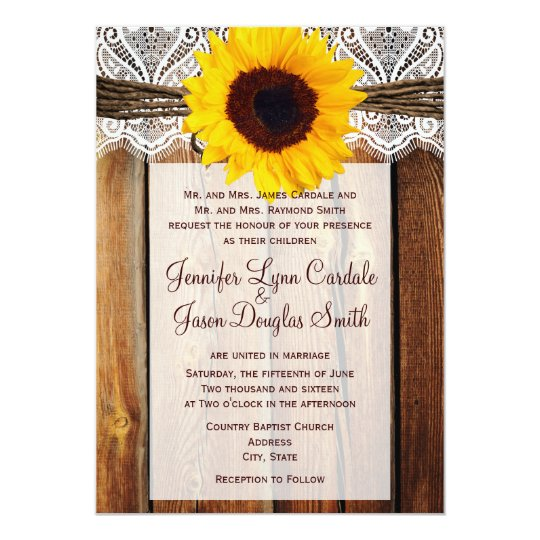 Rustic Sunflower Barn Wood Lace Wedding Invitation
