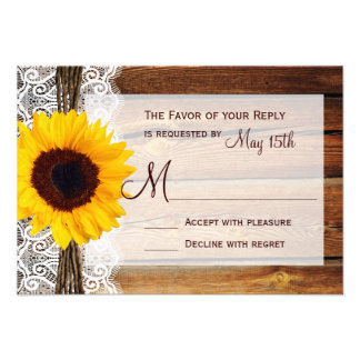Rustic Sunflower Barn Wood Lace Wedding RSVP Cards