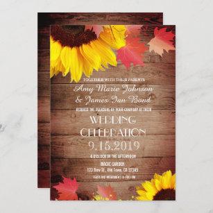 Rustic Sunflower Barn Wood Wedding Invitations