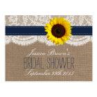 Rustic Sunflower Bridal Shower Recipe Cards