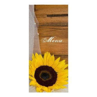 Rustic Sunflower Bridal Veil Country Wedding Menu