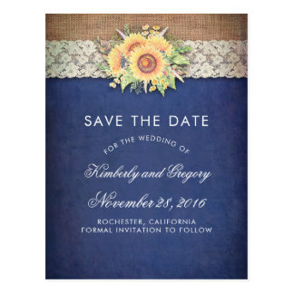 Rustic Sunflower Burlap Navy Save the Date Postcard