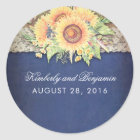 Rustic Sunflower Burlap Navy Wedding Classic Round Sticker