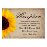 Rustic Sunflower Burlap Wedding Reception Cards Pack Of Chubby Business Cards