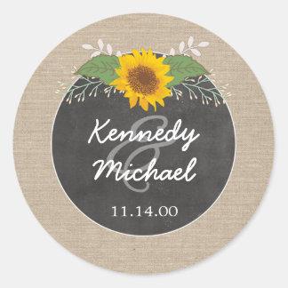 Rustic Sunflower Chalkboard Wedding envelope seal
