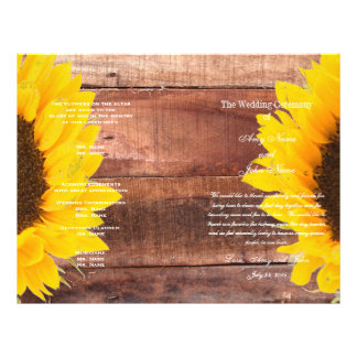 Rustic Sunflower Country Wedding Program Flyer