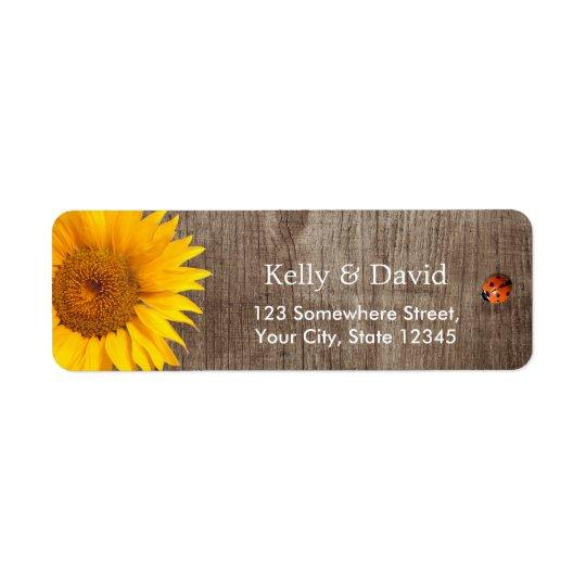 Rustic Sunflower Cute Ladybug Barn Wood Wedding Return Address Label