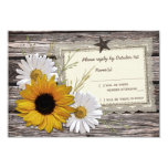 Rustic Sunflower Daisy Lace Wedding Reply Card Personalized Invitation