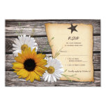 Rustic Sunflower Daisy Wedding Reply Card - Rev Personalised Announcement