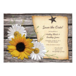 Rustic Sunflower Daisy Wedding Save the Date Invite