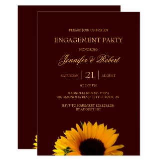 Rustic Sunflower Engagement Party Invitation
