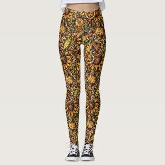 Rustic Sunflower Harvest Pop Fashion Leggings