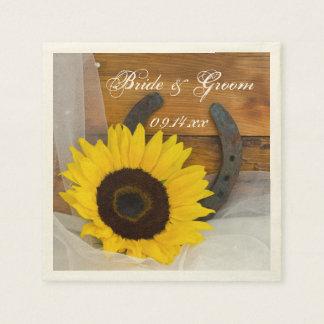 Rustic Sunflower Horseshoe Country Western Wedding Disposable Napkin
