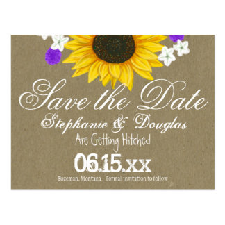 Rustic Sunflower Kraft Save the Date Postcards