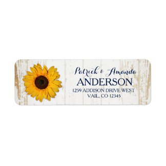 Rustic Sunflower Lace Burlap Wedding Label