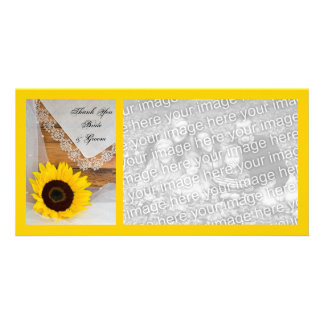 Rustic Sunflower Lace Country Wedding Thank You Customized Photo Card