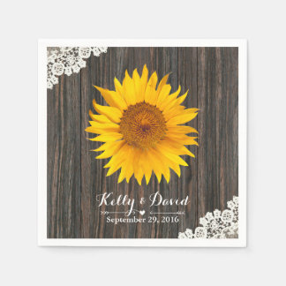 Rustic Sunflower Lace & Wood Wedding Disposable Napkins