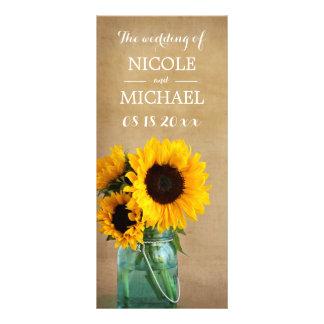Rustic Sunflower Mason Jar Country Wedding Program Rack Card