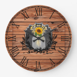 Rustic Sunflower Mason Jar Large Clock