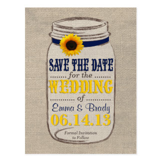 Rustic Sunflower & Mason Jar Save the Date Navy Postcard