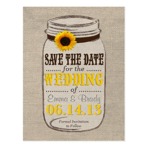Rustic Sunflower & Mason Jar Save the Date Postcards