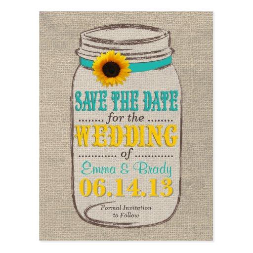 Rustic Sunflower & Mason Jar Save the Date Post Card