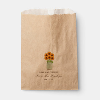 Rustic Sunflower Mason Jar Wedding Favor Bag