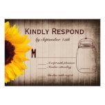 Rustic Sunflower Mason Jar Wedding RSVP Cards Invitations