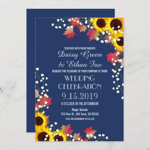 Rustic Sunflower Navy Blue Wedding Invitations