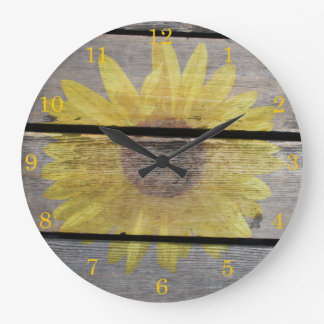 Rustic Sunflower On Wood Large Clock