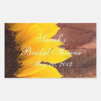 Rustic Sunflower Photo Bridal Shower Rectangular Sticker