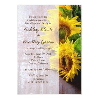 Rustic Sunflower Photograph Wedding Invitation