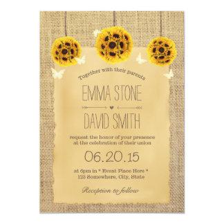 Rustic Sunflower Pomanders & Butterfly Wedding 13 Cm X 18 Cm Invitation Card