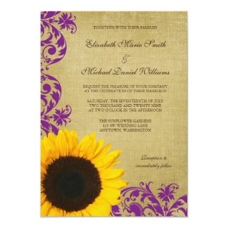 Rustic Sunflower Purple Swirls Wedding Card