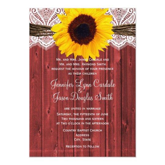 Rustic Sunflower Red Barn Wood Wedding Invites