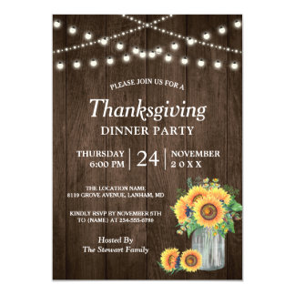 Rustic Sunflower String Lights Thanksgiving Dinner Card