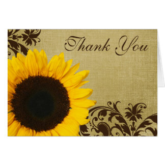 Rustic Sunflower Swirls Thank You Card