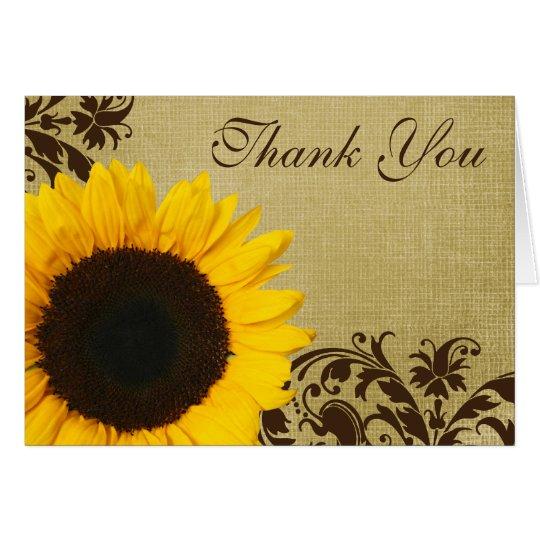 Rustic Sunflower Swirls Thank You Card