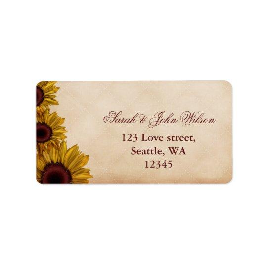 Rustic Sunflower Wedding Address Label