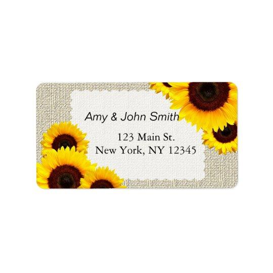Rustic sunflower wedding address labels sunflower1