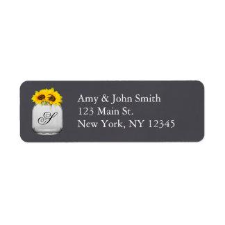 Rustic sunflower wedding address labels sunflwr7
