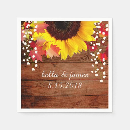Rustic Sunflower Wedding Paper Napkins Disposable Napkin