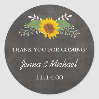 Rustic Sunflower Wedding thank you favor sticker