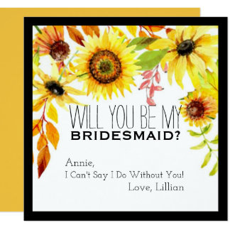 Rustic Sunflower Will You Be My Bridesmaid Fall Card