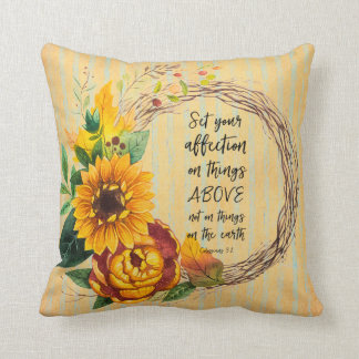 Rustic Sunflower with Bible Verse Cushion